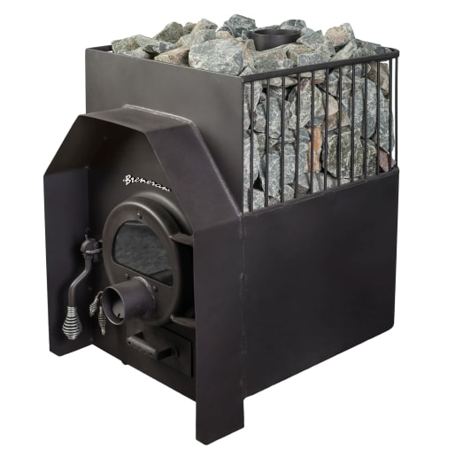 Дровяная печь Бренеран (Булерьян) АОТ-12 25м3 в 1/2 метал. решётке со стеклом